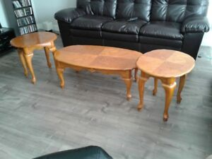 coffee and end table set - 3 piece - real wood