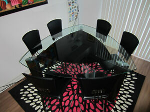 Triangle Glass Pub Dining Table + 6 Pub Chairs