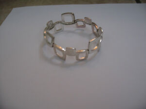 Authentic Silver Fossil Square Shapes Stretchy Bracelet