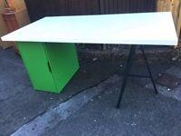 WHITE IKEA DESK WITH GREEN CUPBOARD WEST PONTNEWYDD