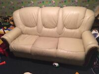 CREAM LEATHER 3 SEATER SOFA AND 2 CHAIRS ** FREE DELIVERY TONIGHT **