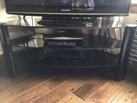 Black glass curved back tv stand