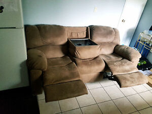 Micro suede reclining couch with drink holders