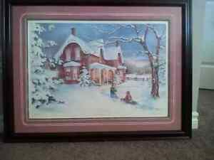 "Laura Berry framed print on glass, ""Snow Angels"" London Ontario image 1"