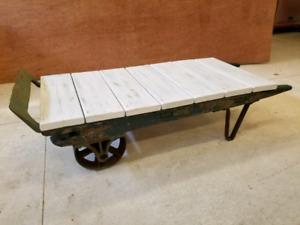 Antique feed cart/coffee table