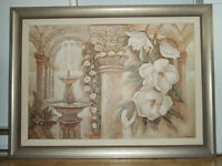 very large oil painting in a silver-grey frame