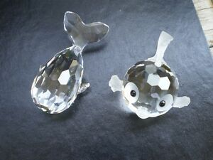 Swarovski Crystal Whale and Crystal Blowfish