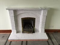 Solid marble fireplace