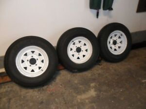 LIKE NEW!   LARGE 13 INCH TRAILER TIRES/WHEELS.