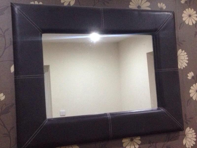 Brown Faux Leather Mirror Brown Faux Leather Mirror10