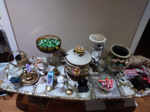 Decorative vases, candles, platters, brass, crystal, cups,salad