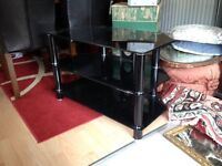 TV stand black and silver