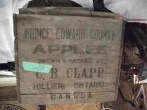 Old wood boxes from Prince Edward cty Canners
