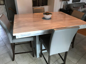Bistro table and 4 leather chairs