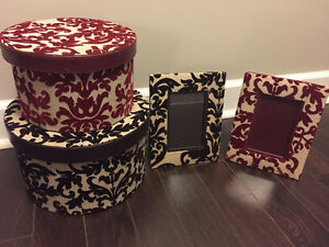 Decorative boxes and two 4x6 frames