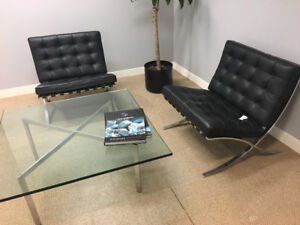Original authentic Knoll barcelona chairs and table
