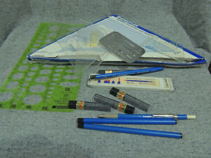 drafting tools, set squares, pencils, templates etc