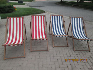 BEACH / PATIO  CHAIRS  - ADJUSTABLE CANVAS BACK