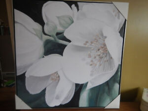 art painting - canvas print, floral, white- still in packaging