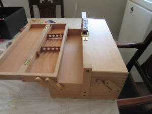 Wooden Art or Sewing Supply Box with carrying handle