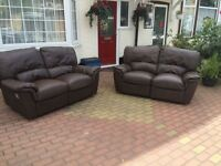 Genuine leather brown 2 seater sofa