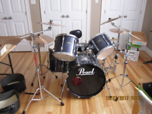 Drum Set, 10 piece, Pearl Export, navy blue, like New.