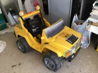 Large Hummer jeep 2 seater electric car with battery charging unit