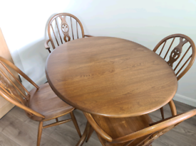 Vintage Ercol Dining Table 70's & 4 Chairs
