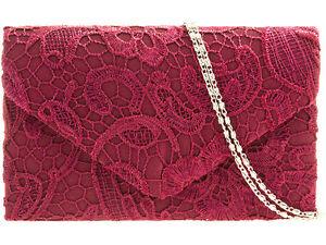 Ladies Burgundy Wine Dark Red Satin U0026 Lace Envelope Style Box Clutch Bag   EBay