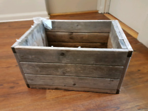 Weathered wooden flower box