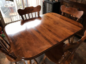 """Solid Oak 36""""x 47 1/2"""" Custom Made Table & Chairs Set $350 OBO."""