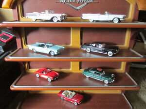 """FRANKLIN MINT DIECAST CLASSIC CARS 5"""" TO 6""""  WITH DISPLAY SHELF"""