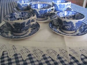 5 GORGEOUS BLUE AND WHITE CUPS AND SAUCERS