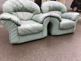 Pair of Green Leather Chairs