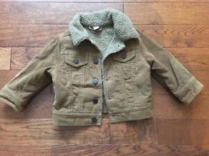 Gap tan corduroy shearling jacket, size 12-18 months