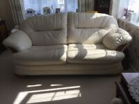 Cream leather sofa and armchairs