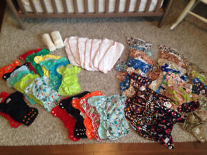 Large Lot of Cloth Diapers and Inserts (33 AppleCheeks)