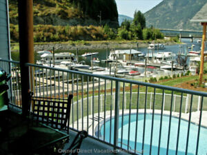 Sicamous Waterfront 2 Bed Condo, 30' Boat Slip, Pool & Hot Tub