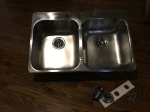 Stainless Steel Double Bowl Drop in Top Mount Kitchen Sink