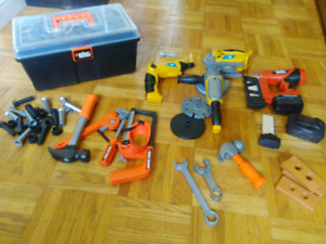 Kids Toy Toolbox and tools, power drill, nailer, hammer, etc