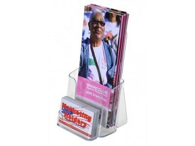 Lot Of 24 Clear Acrylic 4x9 Tri-fold Brochure Displays With Business Card Holder