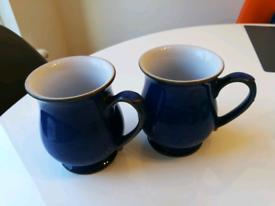 2 Denby Imperial Blue coffee mugs.