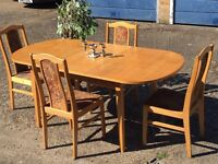 PINE TABLE EXTENDABLE WITH 4 CHAIRS FREE DELIVERY