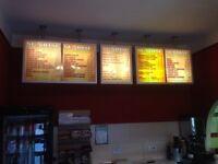 Takeaway / cafe interior menu sign