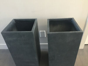 Large tall charcoal grey outdoor  planters  - $100 each