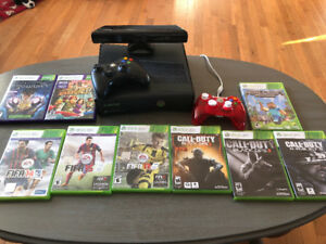 XBOX 360 Console with Kinect - Games and extra controller.