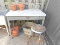 Vintage Enamel Top Garden Potting Table (Table only).