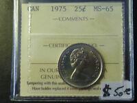 Canada Monnaie 25¢ 1975 Ms-65 Iccs À Rabais! Laval / North Shore Greater Montréal Preview
