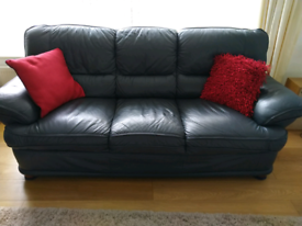 Blue leather 2 and 3 seater sofa set