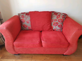 DFS red 2 seater sofa